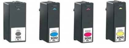 Compatible Lexmark (No100XL) High-Capacity (Mega 4 Pack) Inkjet Cartridges,
