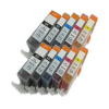 Compatible Canon (Mega 10 Pack) PGI-525BK/CLI-526 Inkjet Cartridges