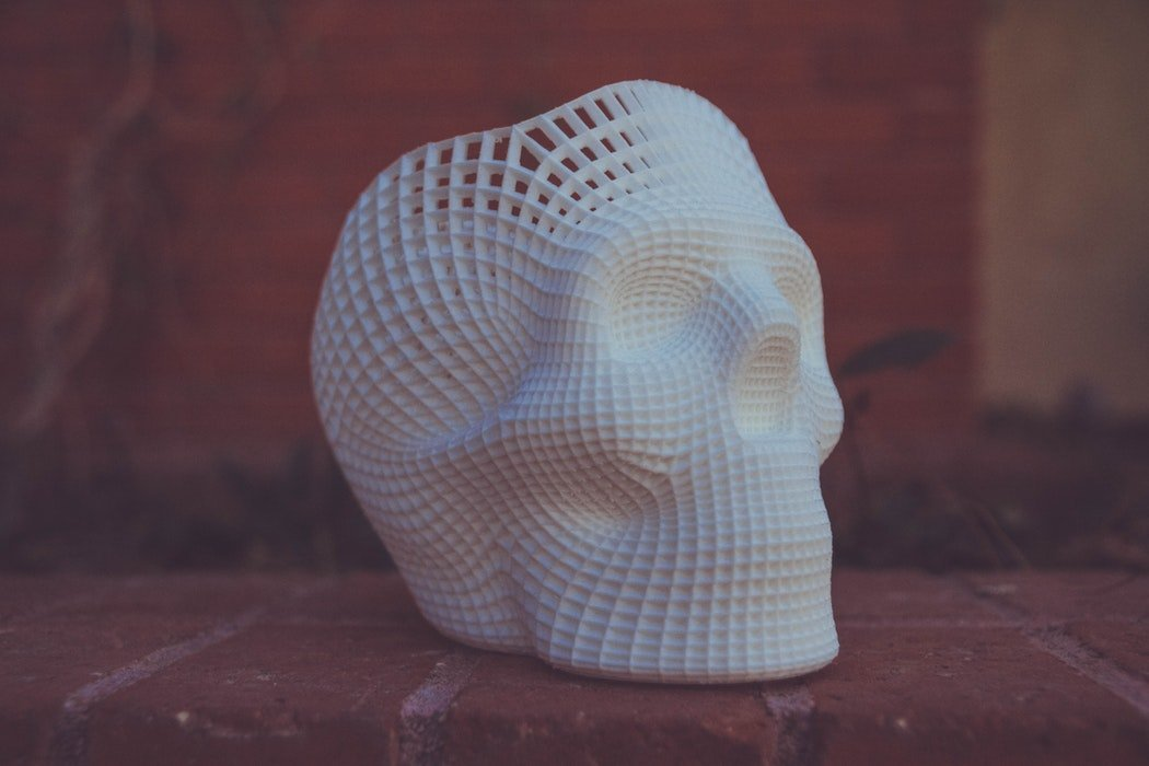 A white skull printed in 3D